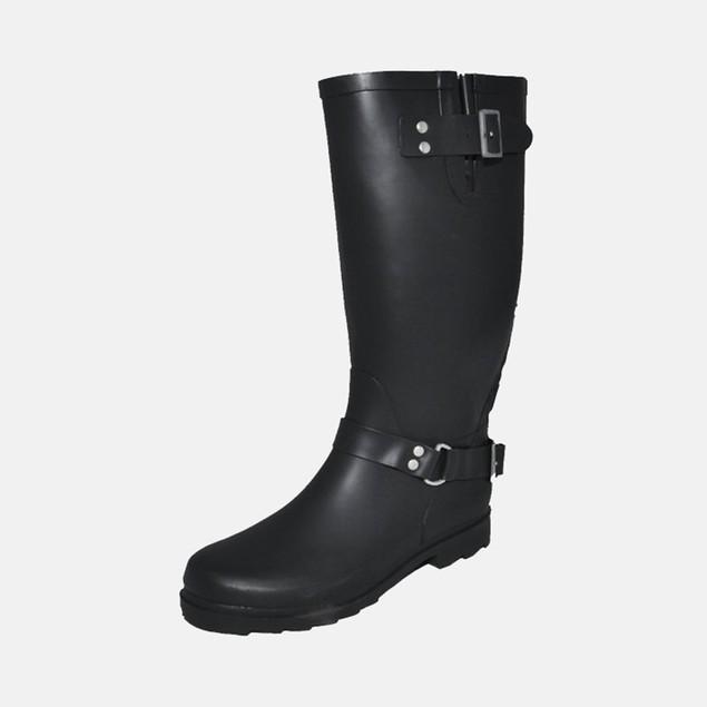 Henry Ferrera Women's Biker Rain Boots - Black