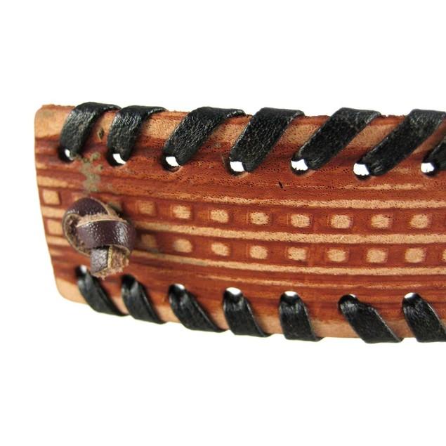 Southwestern Look Tooled Brown Leather Bracelet Mens Leather Bracelets