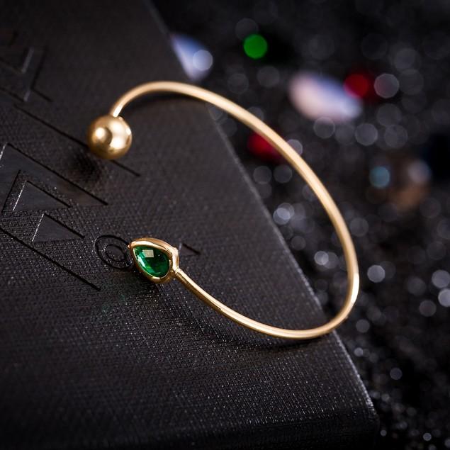 Gold Plated Emerald Gem Open Ended Bangle