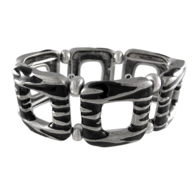 Black Enamel Pewter Zebra Stripe Stretch Bracelet Womens Stretch Bracelets
