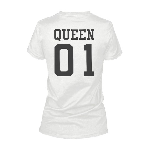King 01 And Queen 01 Matching Graphic T-shirt Set Cute White Couple Tees