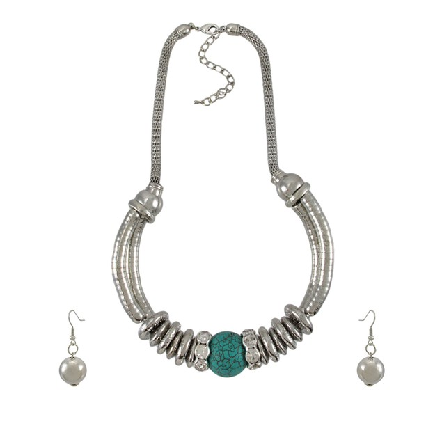 Silvertone Necklace And Earring Set Turquoise Bead Womens Earring And