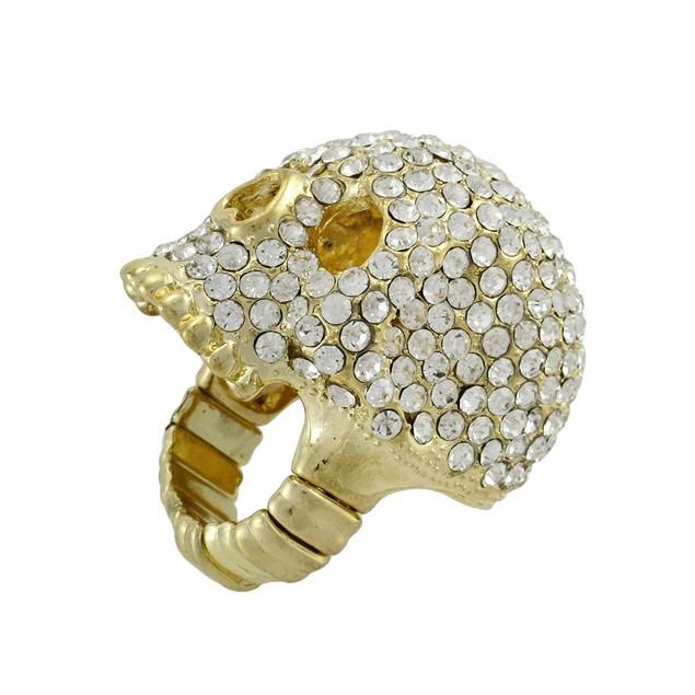 Sparkling Gold Tone Rhinestone Encrusted Stretch Rings