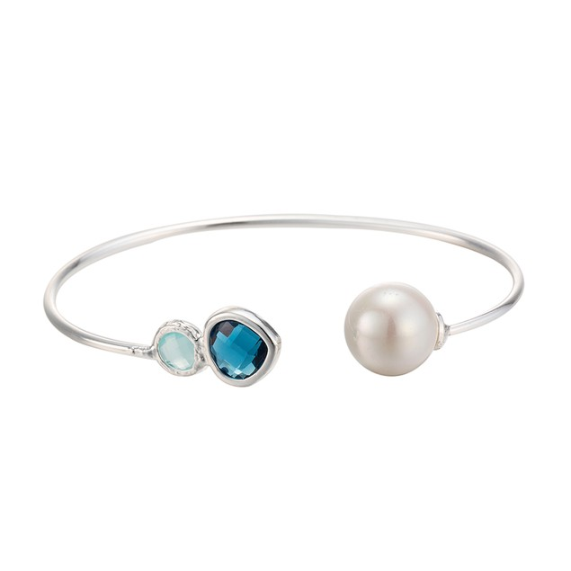 White Gold Plated Petite Turquoise & Pearl Open Ended Bangle