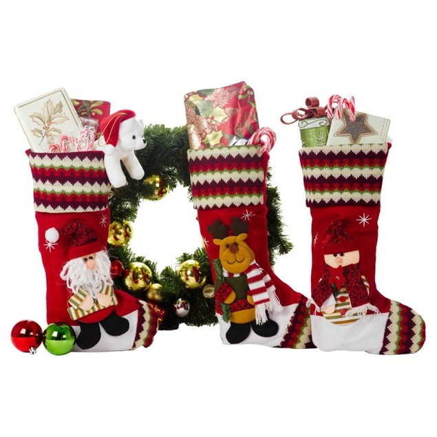 """3-Pack Christmas Decorations 18"""" Cute Christmas Stockings"""