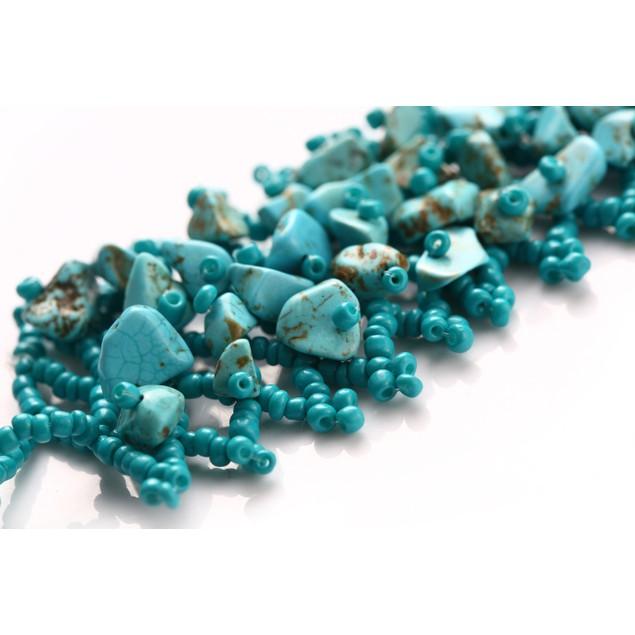 Crochet Turquoise Pebble Bracelet