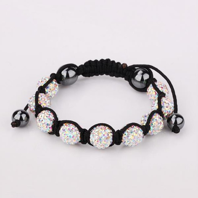 80's Glam Eight Beads Austrian Crystal Bracelet - Dark Crystals