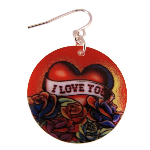 Tattoo Heart `I Love You` Shell Necklace & Womens Earring And Necklace Sets