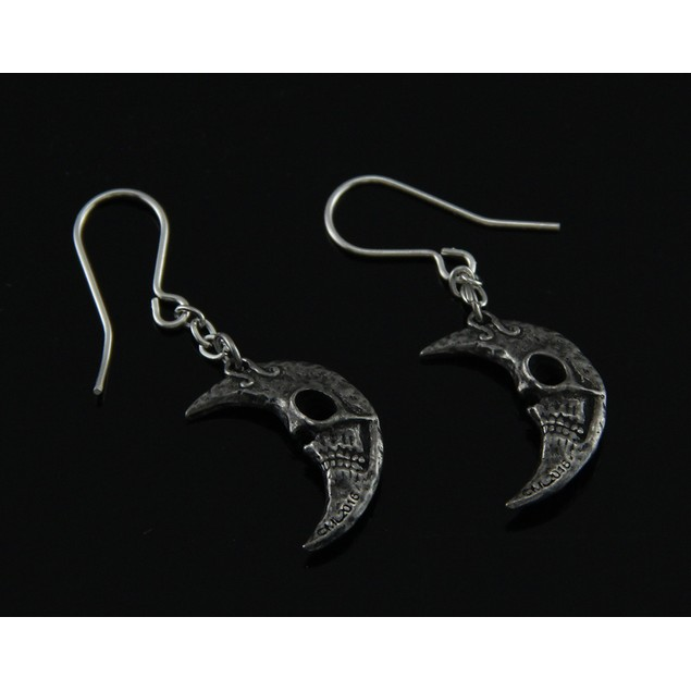 Alchemy Gothic Crescents Tragicomic Skeletal Moon Womens Earrings