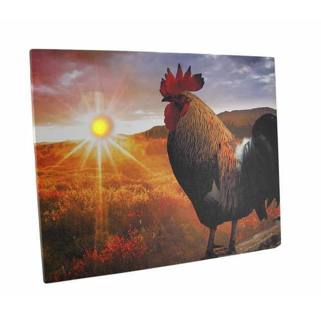 Rise And Shine Sunrise Rooster Led Lighted Canvas Prints