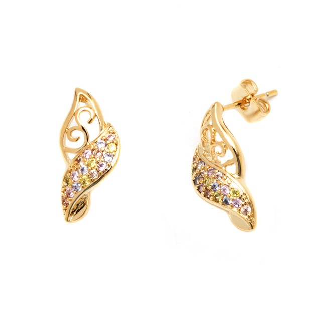 Gold & Crystal Earrings Made with Swarovski Elements