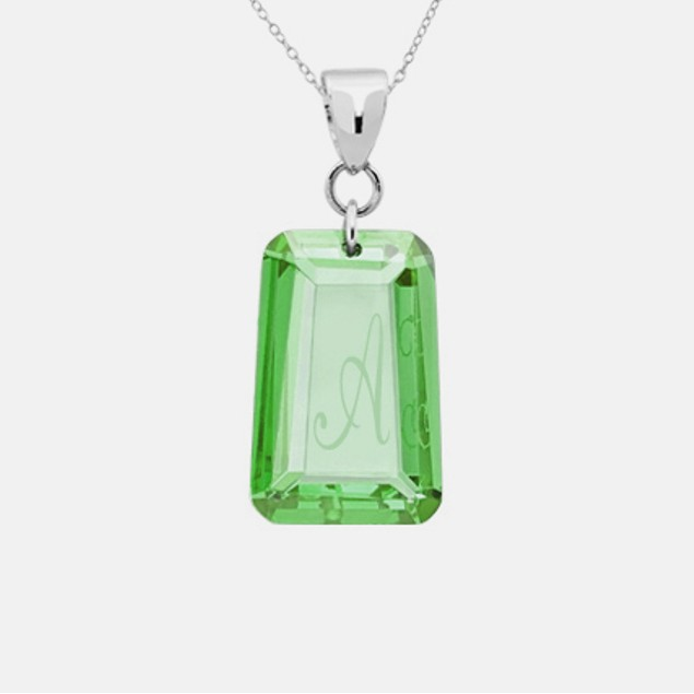 6 Carat Swarovski Initial Emerald Necklace - A