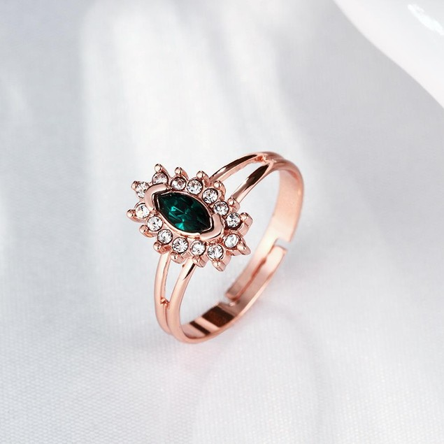 Rose Gold Plated Green Crystal Ring