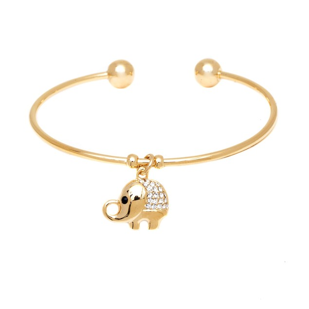 Gold & Crystal Elephant Charm Bangle