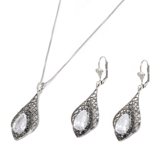 Silver & Marcasite Crystal Teardrop Earrings & Pendant Necklace Set