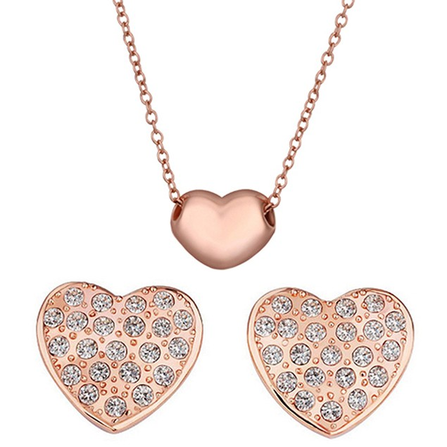 Heart Earring and Necklace Set with Swarovski Elements