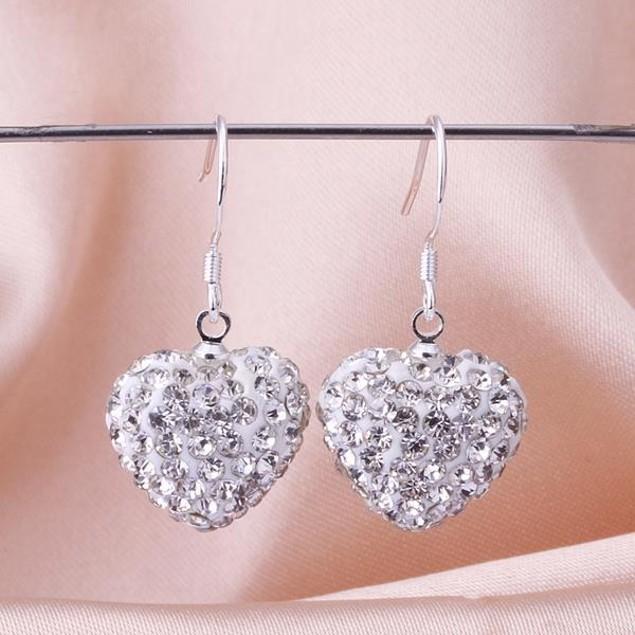 Heart Shaped Solid Austrian Stone Drop Earrings - Crystal