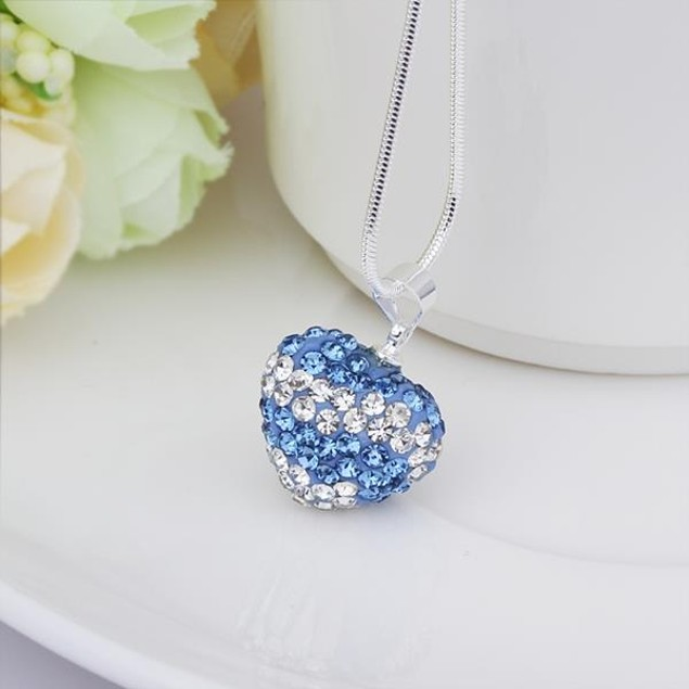 Multi-Toned Austrian Stone Heart Shaped Necklace - Multi Blue