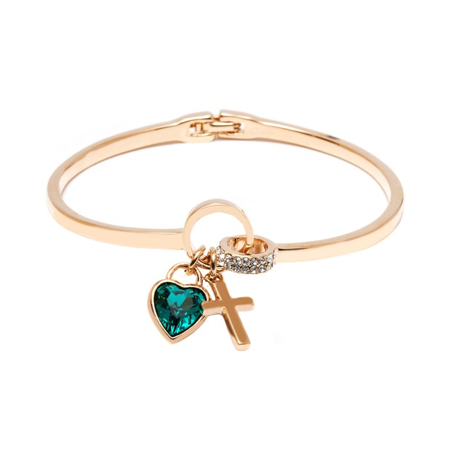 Gold Plated Green Crystal Heart Cuff