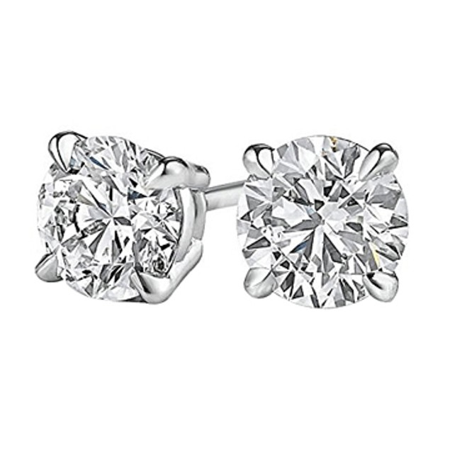 0.50 Carat Natural Diamond Studs in 14K White Gold