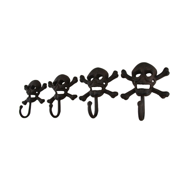 Set Of 4 Rustic Cast Iron Skull And Bones Decorative Wall Hooks
