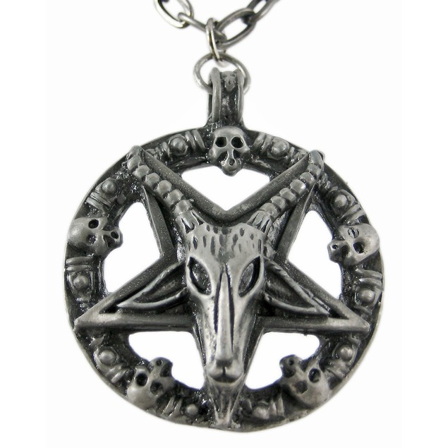 Sigil Of Baphomet Pewter Necklace Pentagram Mens Pendant Necklaces