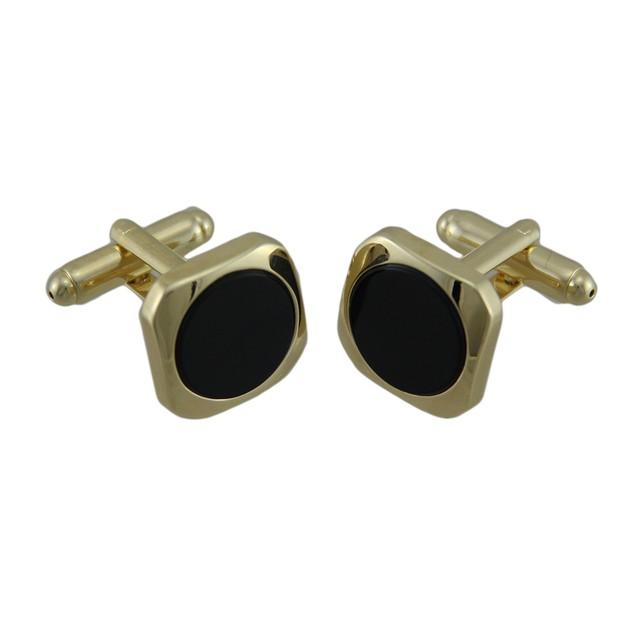 Gold Plated Inlaid Round Black Onyx Cufflinks Mens Cuff Links
