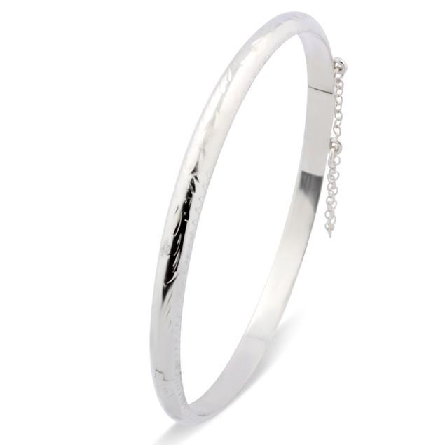 Sterling Silver Etched Bangle Bracelet