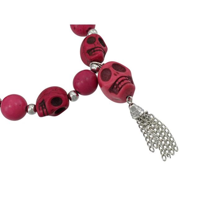 Fuchsia 3D Skull Bead Stretch Bracelet Chrome Womens Stretch Bracelets