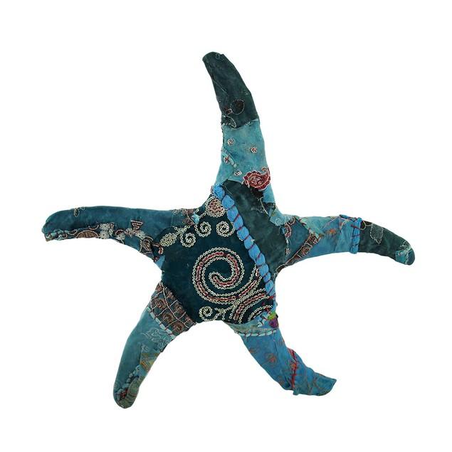 Blue Vintage Sari Fabric Covered Paper Mache Starfish Sculpture