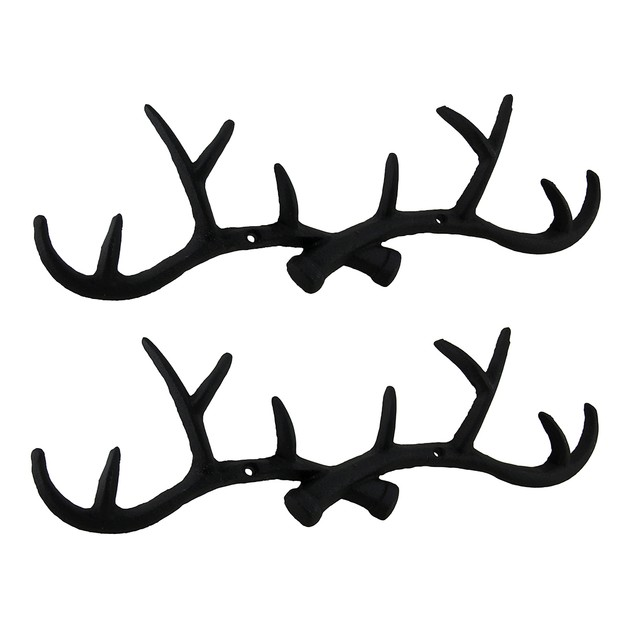 Set Of 2 Rustic Black Cast Iron Deer Antler Wall Decorative Wall Hooks