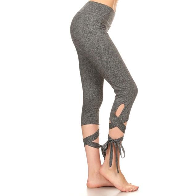 2-Pack Woman's  Cross Tie Cuff Slim Yoga Pants Capri Activewear Legging