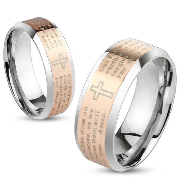 Lord's Prayer Rose Gold IP Beveled Edge Stainless Steel Ring