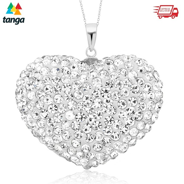 Sterling Silver Pave Crystal Puff Heart Necklace with Box