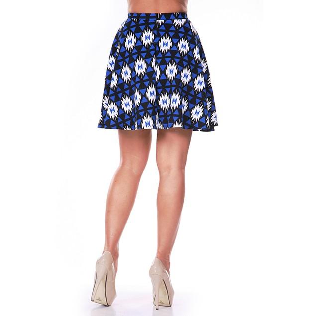 Blue & Black Diamond Print Skater Skirt