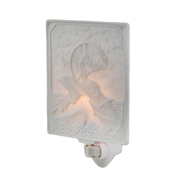 White Porcelain Mermaid On Dolphin Night Light Night Lights