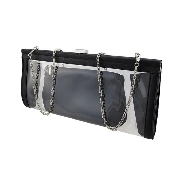 Transparent Clutch Purse With Black Trim And Womens Clutch Handbags