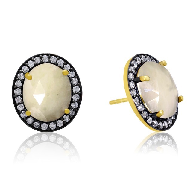 20ct Natural Pearl Sapphire Earrings w/ CZ Accents