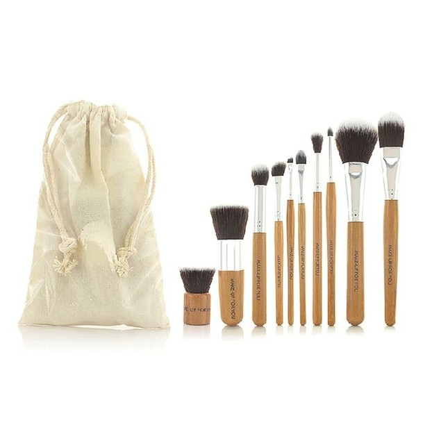 Bamboo Makeup Brush Set with Storage Pouch (10-Piece)