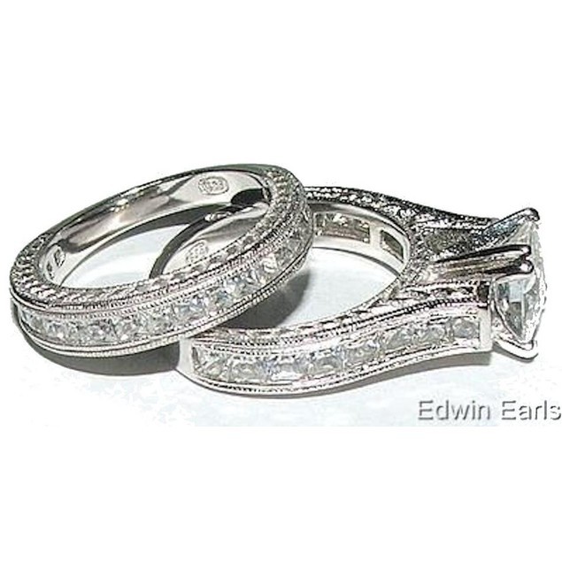 His & Her 3 Piece Wedding Ring Set 925 Sterling Silver and Titanium