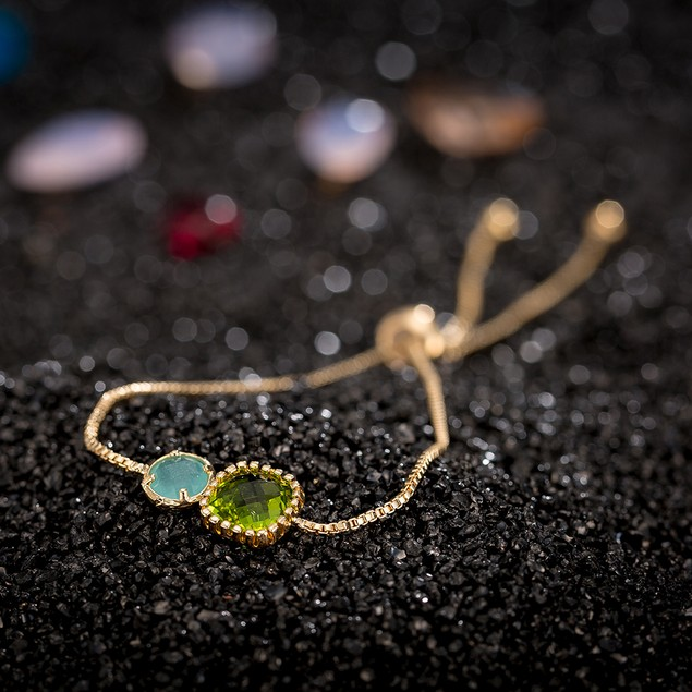 Gold Plated Duo Turquoise & Emerald Gem Bracelet