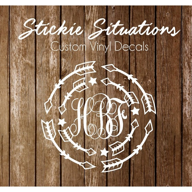 Layered Arrows Monogram Decal - 5 Styles