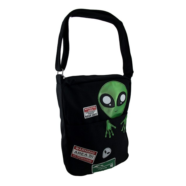 Sleepyville Critters Area 51 Peeking Alien Canvas Womens Cross Body Bags