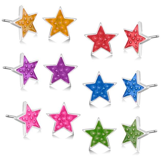 6-Pack Colored Enamel Star Earrings