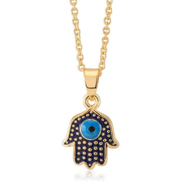 Enamel Evil Eye Hamsa Necklace
