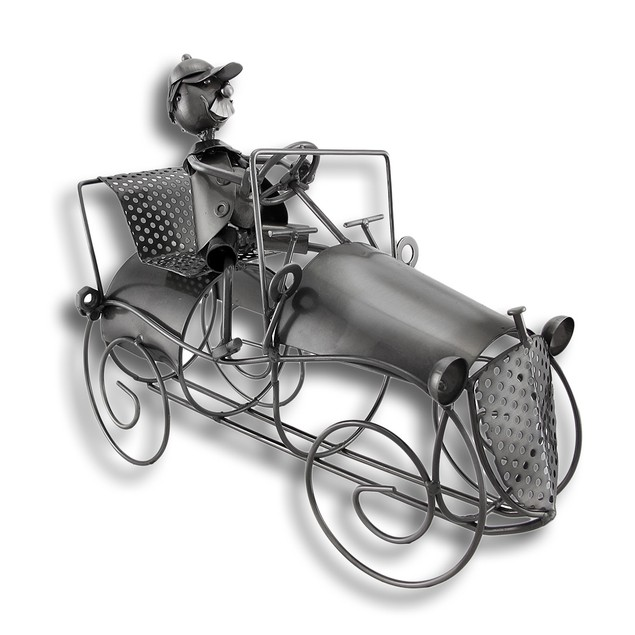 Antique Car And Driver Metal Sculpture Wine Bottle Tabletop Wine Racks