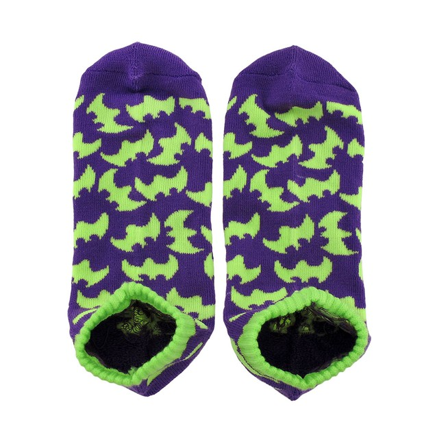 Large Women`S Purple And Lime Green Bat Heavy Womens Socks