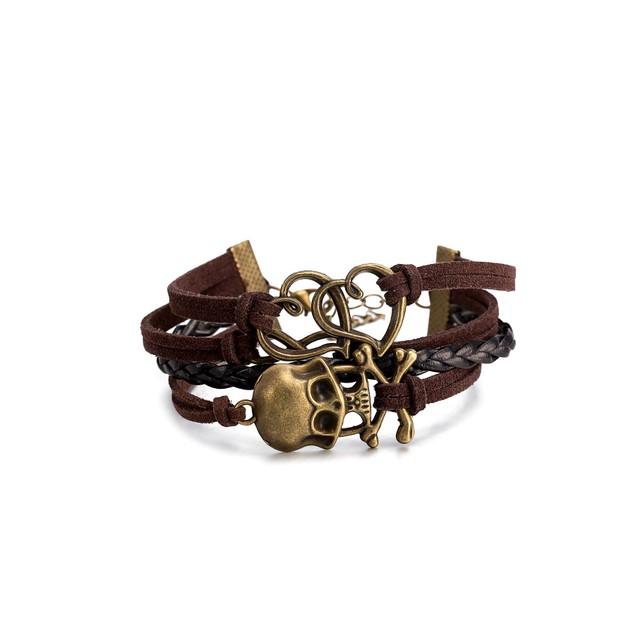 Brown & Black Intertwined Skulls Bracelet