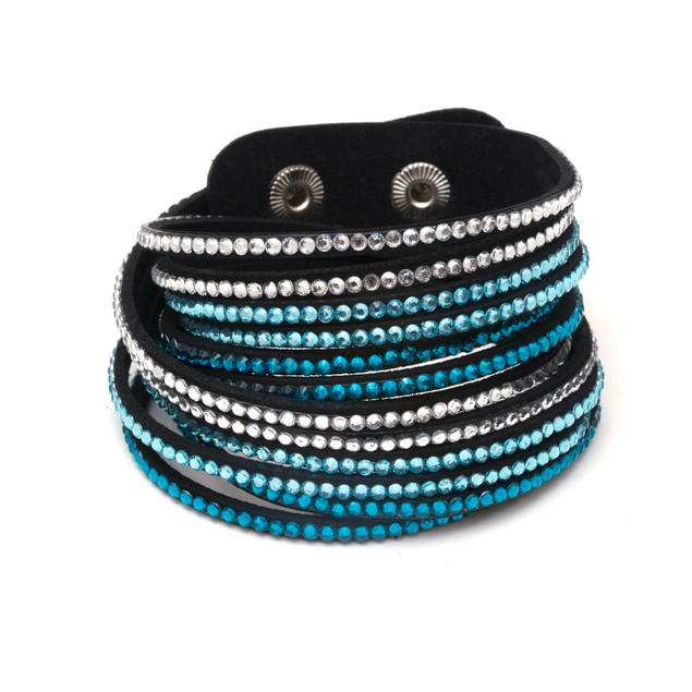 Leather and Austrian Crystal Wrap Bracelet - Aqua & White