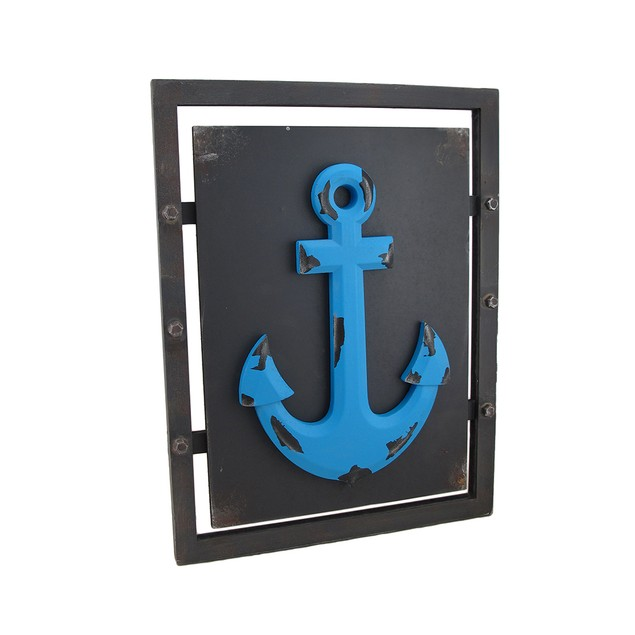 Distressed Finish Blue Nautical Anchor On Panel Wall Sculptures